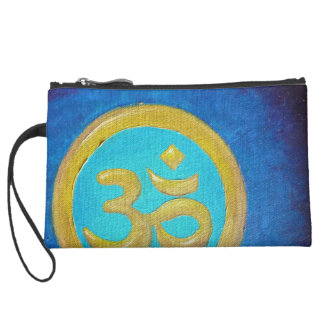 Om Painting by Maria-Tina Suede Wristlet