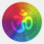 Om Rainbow Design Round Stickers