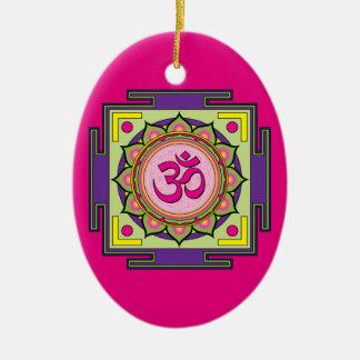 Om Shanti Om Mandala Ceramic Oval Decoration