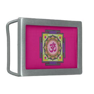 Om Shanti Om Mandala Rectangular Belt Buckle