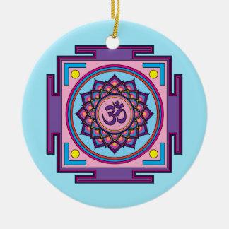 Om Shanti Om Mandala Round Ceramic Decoration