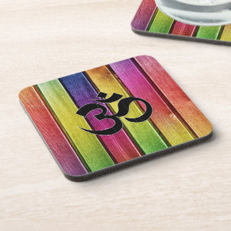 Om sign on multicolor wood coaster