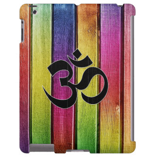 Om sign on multicolor wood iPad case