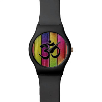 Om sign on multicolor wood watch