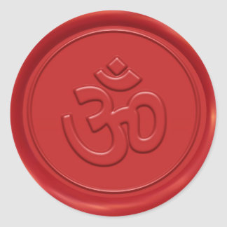 Om Sign Wax Seal Round Sticker