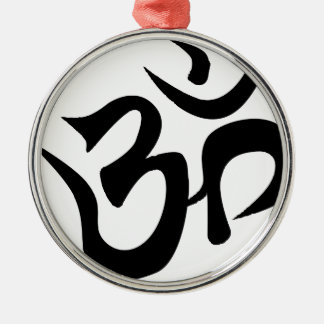 Om Silhouette Silver-Colored Round Decoration