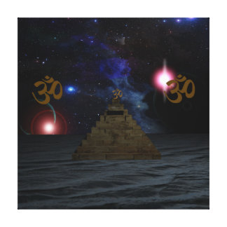 OM Space Pyramid Stretched Canvas Prints