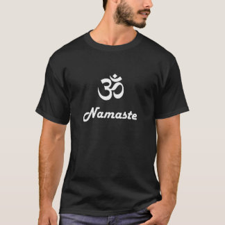 Om symbol and Namaste - white text on dark t-shirt