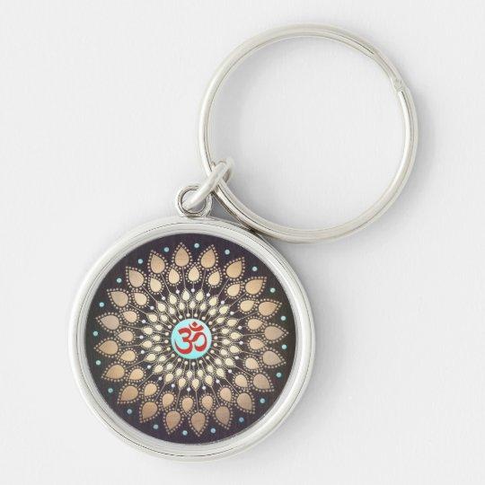 OM Symbol Gold Lotus Mandala Wood Look Turquoise Key Ring