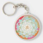 OM Symbol Lotus Mandala Basic Round Button Key Ring