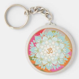 OM Symbol Lotus Mandala Key Ring