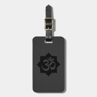 OM Symbol Lotus Spirituality Carbon Fiber Decor Luggage Tag
