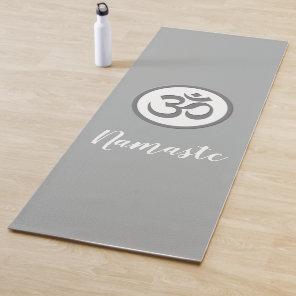 Om Symbol Namaste Grey Yoga Mat