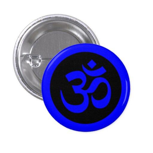 Om Symbol on Blue and Black Badge Pinback Buttons