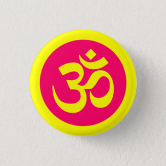 Om Symbol on Yellow and Pink Badge