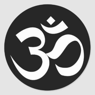 om symbol sacred Buddhism religion zen yoga Classic Round Sticker