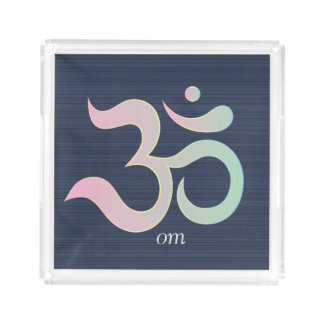 Om symbol Sanskrit pastel pink green blue stripes Acrylic Tray