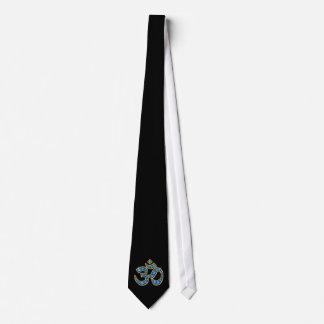 """Om Symbol with """"Aquamarine"""" Stones Tie"""
