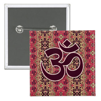 Om Symbol with Indian design background 15 Cm Square Badge