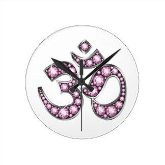"""Om Symbol with """"Rose Quartz"""" Stones Clocks"""