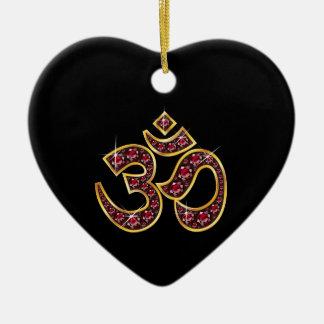"Om Symbol with ""Ruby"" Stones Ceramic Heart Decoration"
