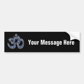 "Om Symbol with ""Sapphire"" Stones Bumper Sticker"
