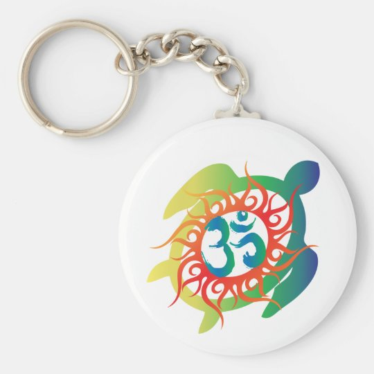 Om-Tatto-Vibrant-Turtle Basic Round Button Key Ring