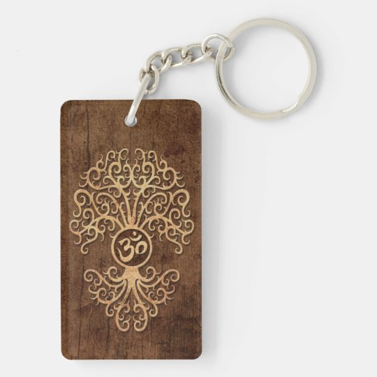 Om Tree with Wood Grain Effect Key Ring