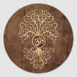 Om Tree with Wood Grain Effect Round Sticker