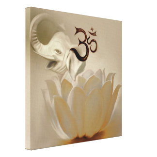 Om with lotus and elephant canvas print