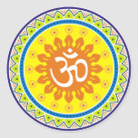 Om with Traditional Indian style Mandana Classic Round Sticker