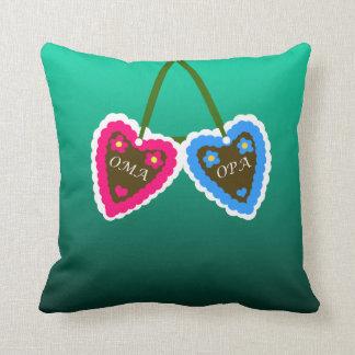 Oma and Opa Gingerbread Hearts  ~ Lebkuchenherzen Cushion
