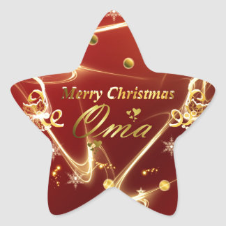 oma golden christmas text star sticker