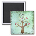 oma heart tree square magnet