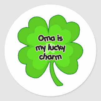 Oma is My Lucky Charm Round Sticker
