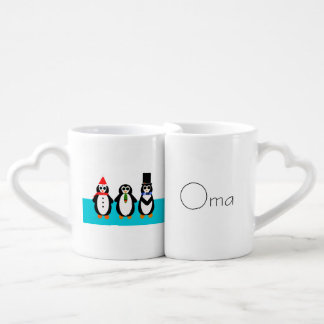 Oma & Opa Penguins with German Hearts Coffee Mug Set