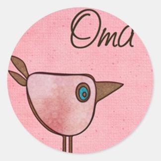 oma pink birdie round sticker