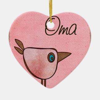 oma pink whimsical bird christmas ornament