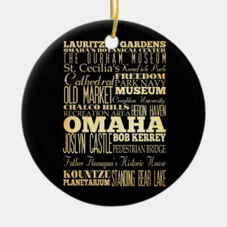 Omaha City of Nebraska State Typography Art Christmas Ornament