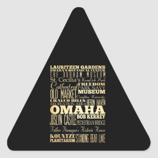 Omaha City of Nebraska State Typography Art Triangle Sticker