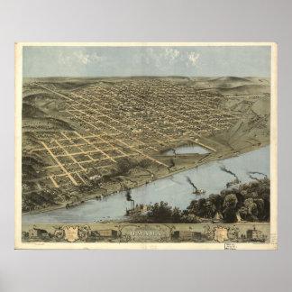 Omaha Nebraska 1868 Antique Panoramic Map Poster