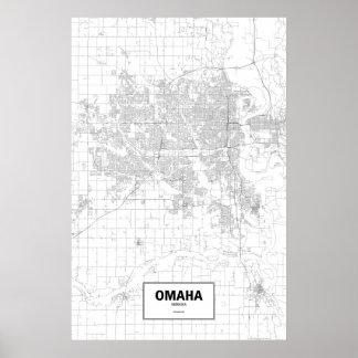 Omaha, Nebraska (black on white) Poster