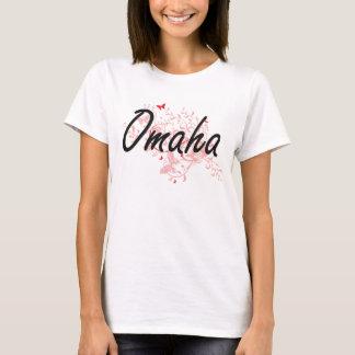 Omaha Nebraska City Artistic design with butterfli T-Shirt