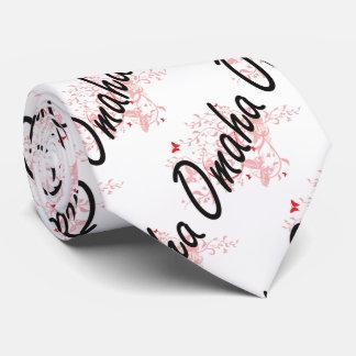 Omaha Nebraska City Artistic design with butterfli Tie