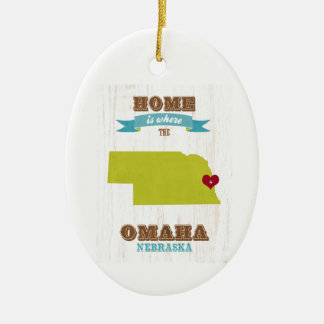 Omaha, Nebraska Map – Home Is Where The Heart Is Christmas Ornament