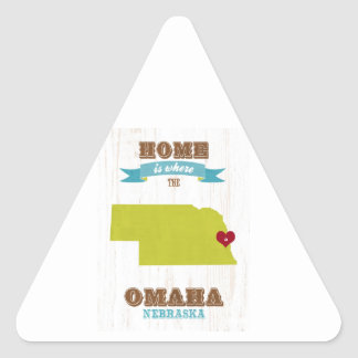 Omaha, Nebraska Map – Home Is Where The Heart Is Triangle Sticker