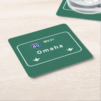 Omaha Nebraska ne Interstate Highway Freeway : Square Paper Coaster