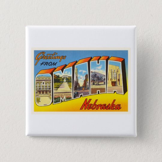 Omaha Nebraska NE Old Vintage Travel Souvenir 15 Cm Square Badge