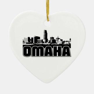 Omaha Skyline Ceramic Heart Decoration