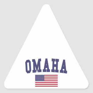 Omaha US Flag Triangle Sticker